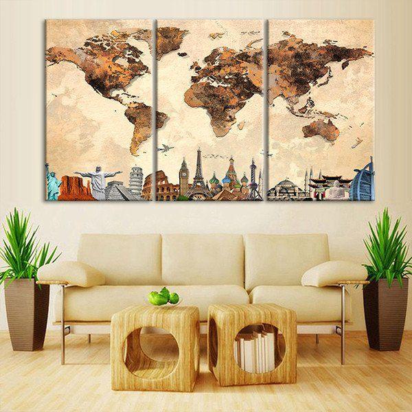 Rustic World Map Masterpiece Multi Panel Canvas Wall Art | Walls ...