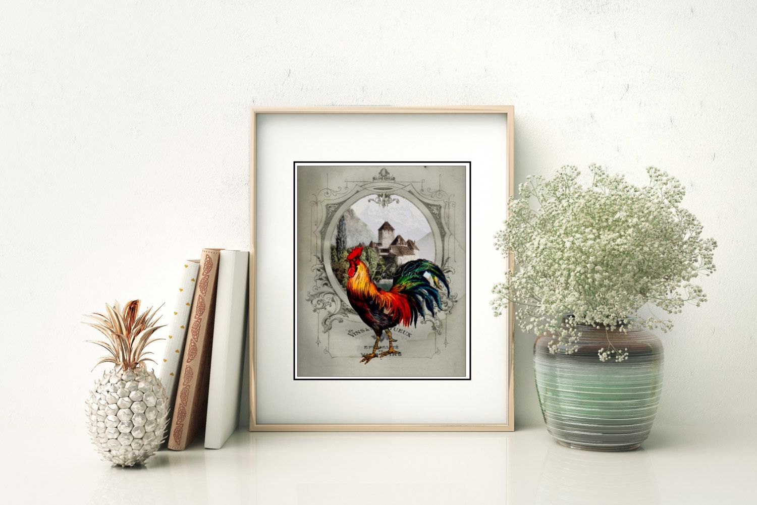 French Chateau Rooster Gray IV - Art Print, French Country Farmhouse ...