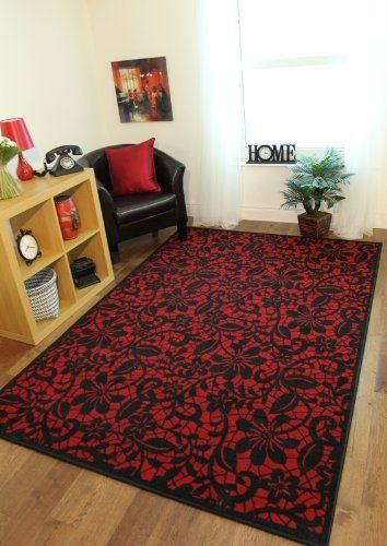 Milan Red Black Lace Print Rug Since I Don T Live In The Uk