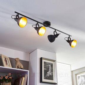 Projecteur de cuisine noir dor julin 4 lampes for Luminaire cuisine noir
