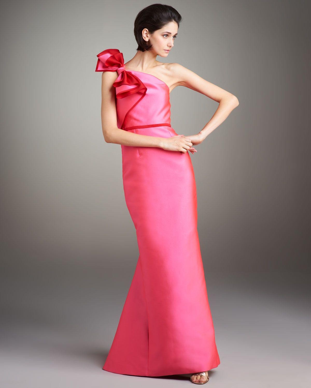 315ec5d86747d Women's Pink Contrast Bow-shoulder Gown   fashion dressy dresses ...