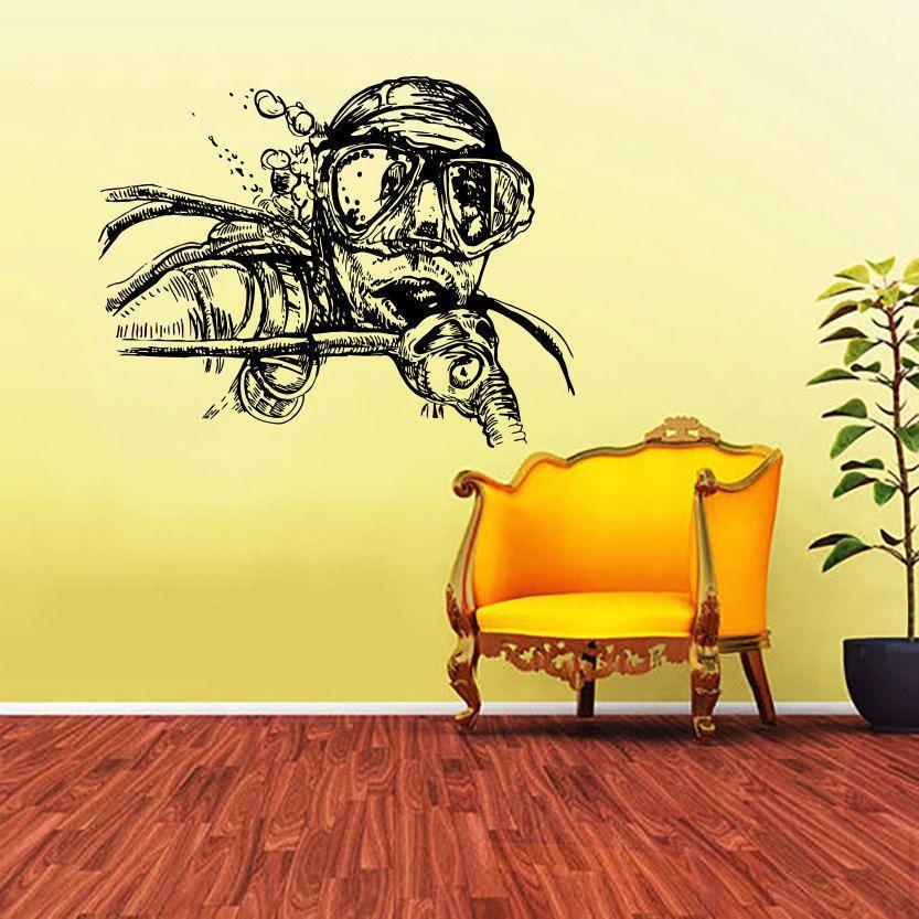 Scuba Diver Mask Vinyl Sticker Wall Art | Products | Pinterest ...