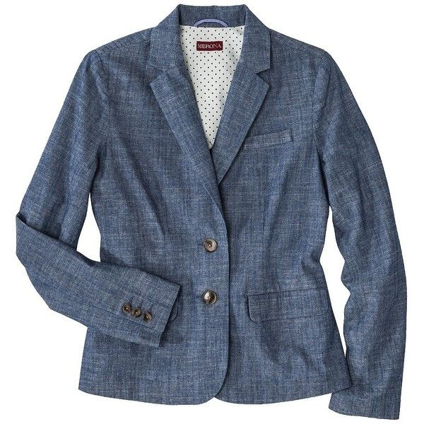 Merona® Women's Oxford Blazer - Chambray ($35) ❤ liked on Polyvore