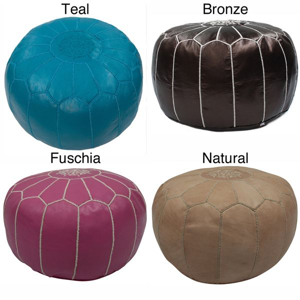 Handmade Casual Living Leather Moroccan Ottoman Pouf | Overstock.com