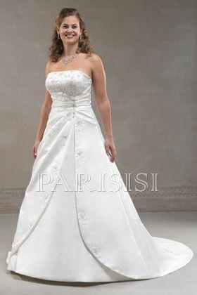plus size wedding dress satin white strapless long corset