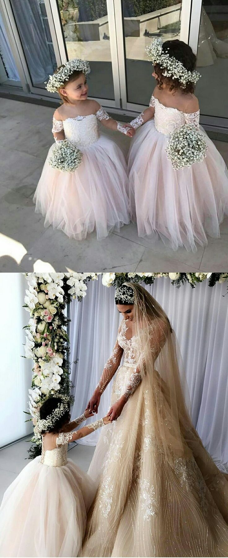 2b2440c64 Princess Ball Gown Tulle Flower Girl Dresses With Long Sleeves 2018 ...