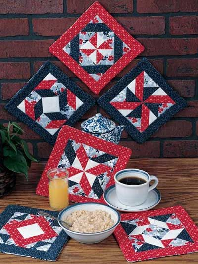 Six Pinwheel Pot Holders Quilted Pot Holder Patterns Crafts