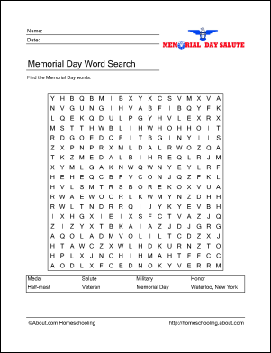 Memorial Day Word Search Puzzle | Word search puzzles, Word search ...
