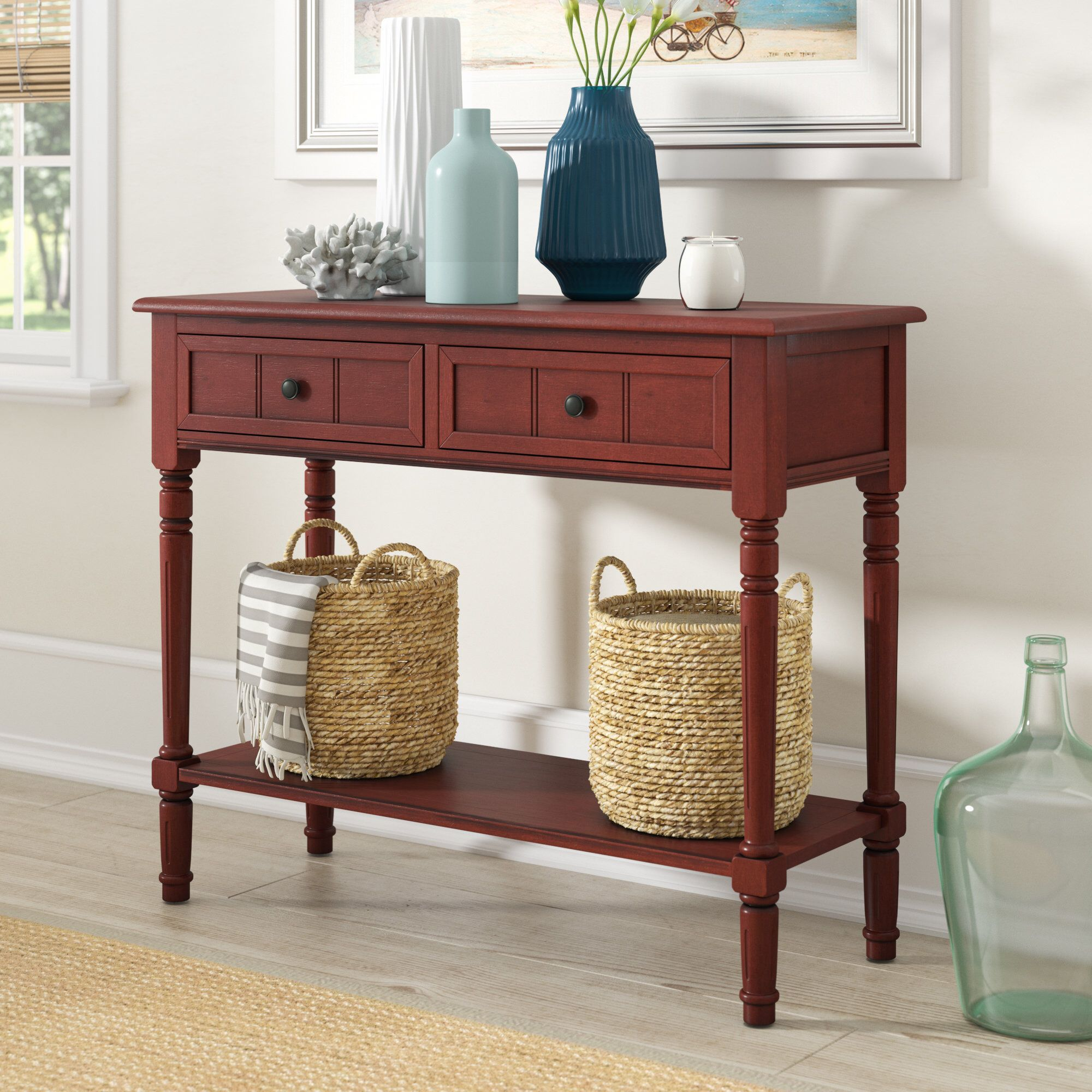 Regan 35 8 Solid Wood Console Table Console Table Decorating Red Console Table Wood Console Table