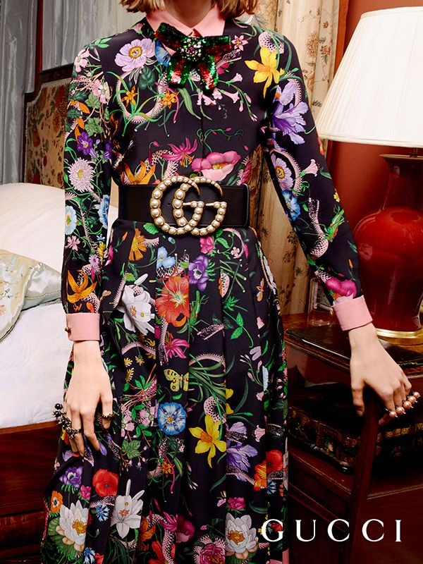 b84567947 The House's storied print Flora has a contemporary twist for Gucci Cruise  2017 in rich tones