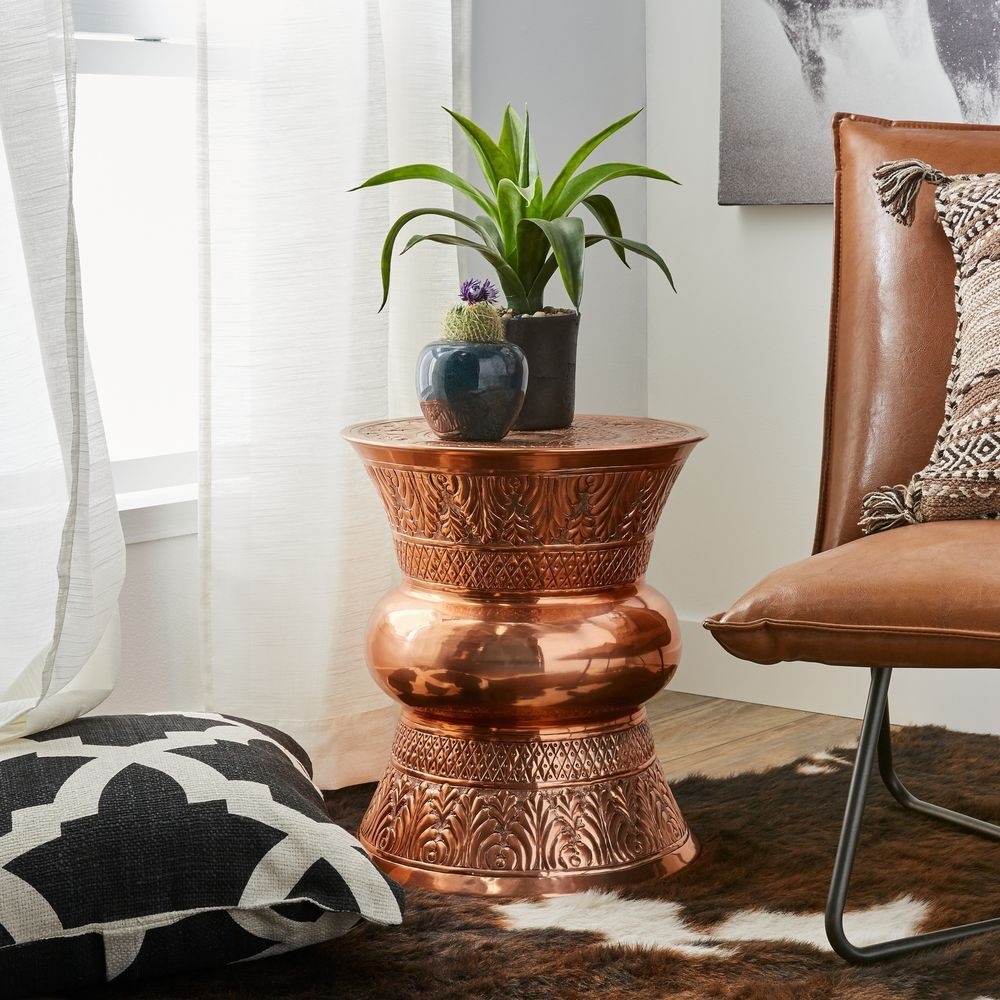 Handcrafted metal end table bohemian indian craftsman copper accent furniture handmade bohemien