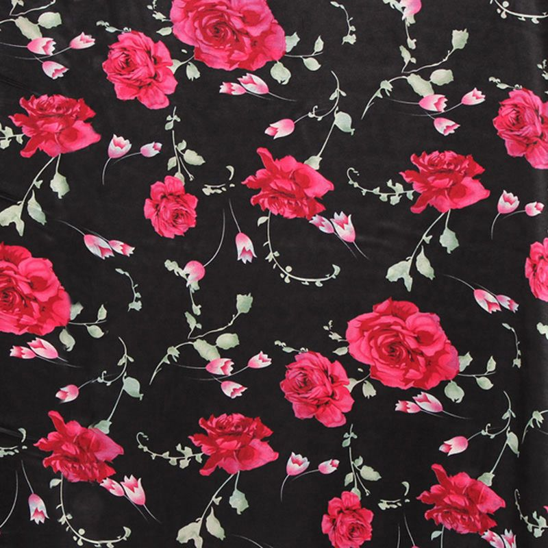 Rose Pink /& Black Flowers,Floral Retro Stretch ITY Jersey Dress Fabric.