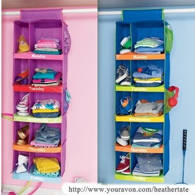 Here is an easier way to lay out clothes for the each day, even has a slot  for shoes… | Kids clothes organization, Kids clothes storage, School clothes  organization
