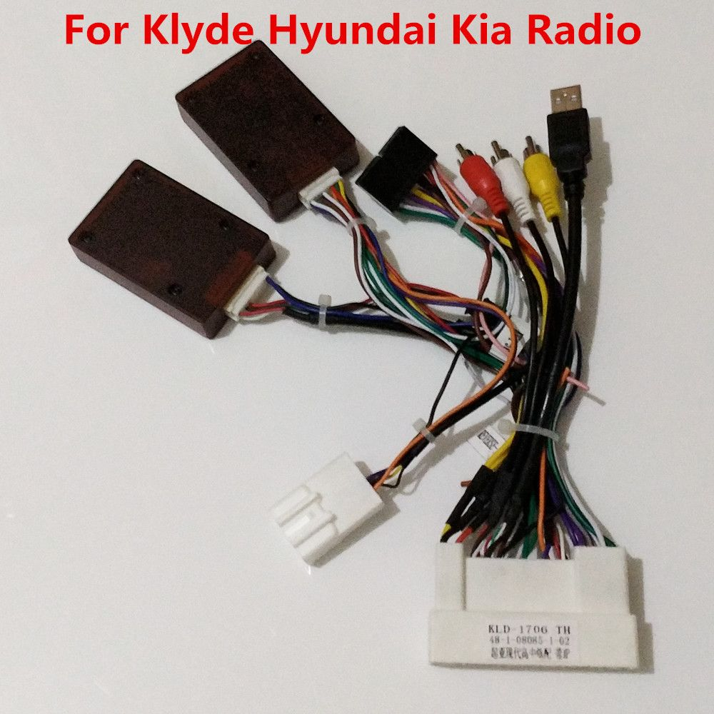 power cable with canbus decoder box for my store klyde brand kia hyundai car radio support jbl amplifier steering wheel controls [ 1000 x 1000 Pixel ]