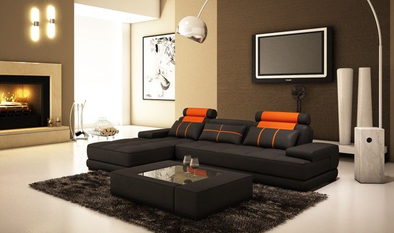 Interior Furniture L Shaped Black Added Orange Sofa