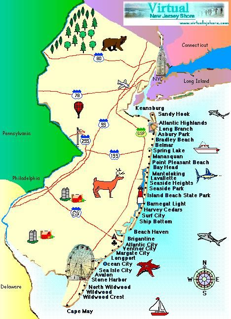 NJ BEACH LISTINGIm Partial To Cape May Myself Funny Cute Or - Map of new jersey towns
