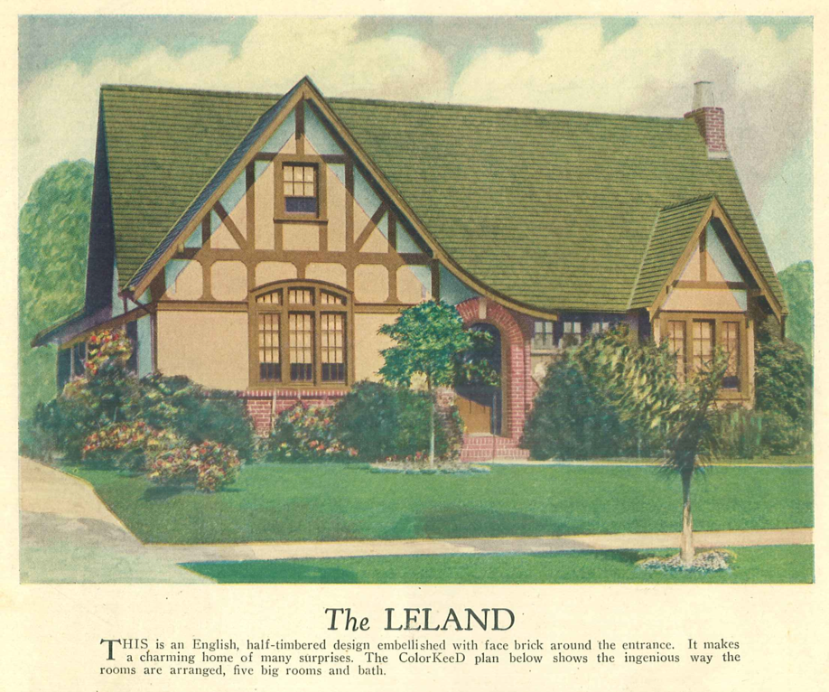 colorkeed home plans 1927 from w o green son lumber co this is an english half timbered design embellished with face brick around the entrance - Brick English Home Plans