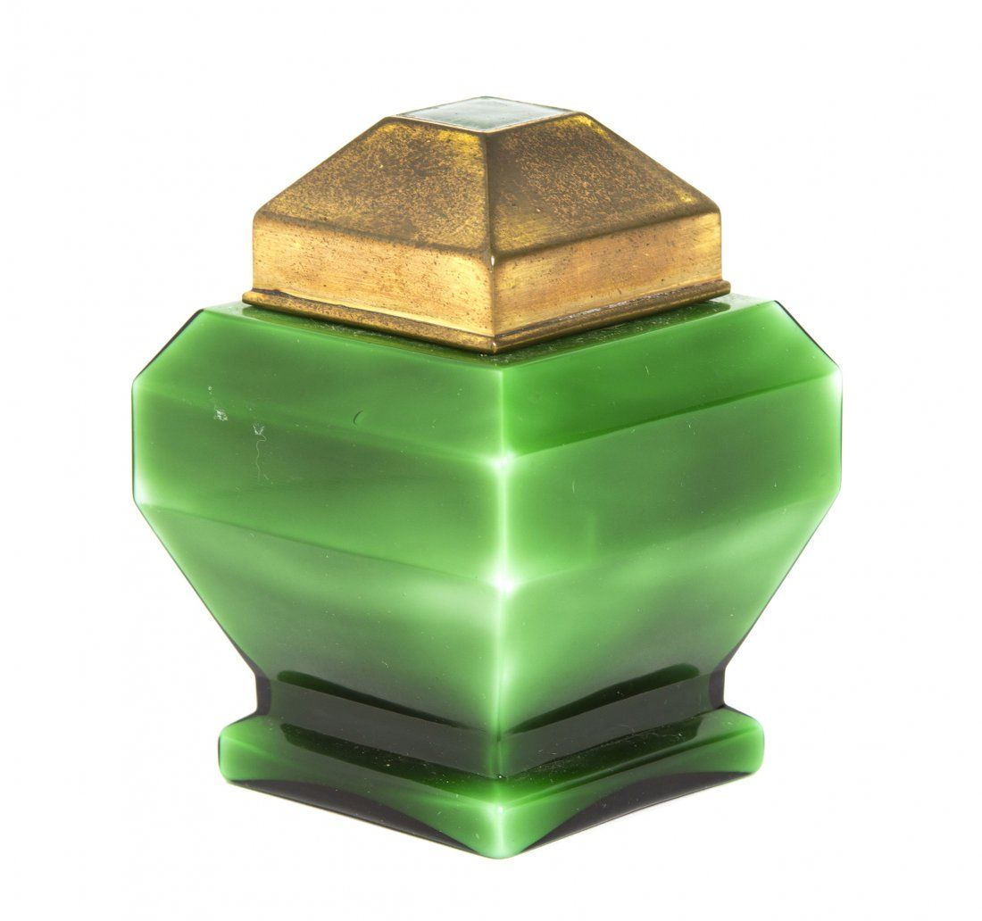 A French Art Deco Emerald Glass Perfume Bottle, Baccara