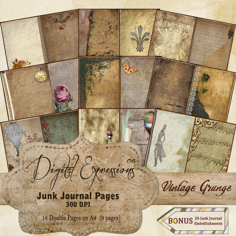Scrapbooks Vintage Crafts Old Grunge Printable Paper for Junk Journals