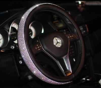 Luxury Shiny Full Rhinestone Leather Car Steering Wheel Cover M Size ...
