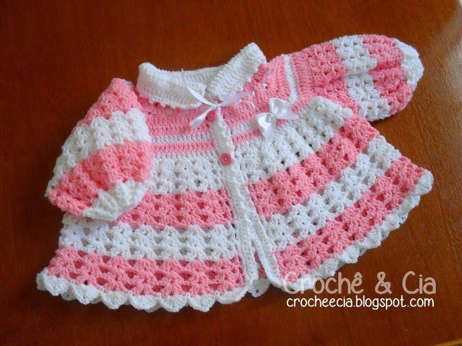 Croche e Cia: Casaquinho de lã Rosa e Branco   Crochê Bebê ...