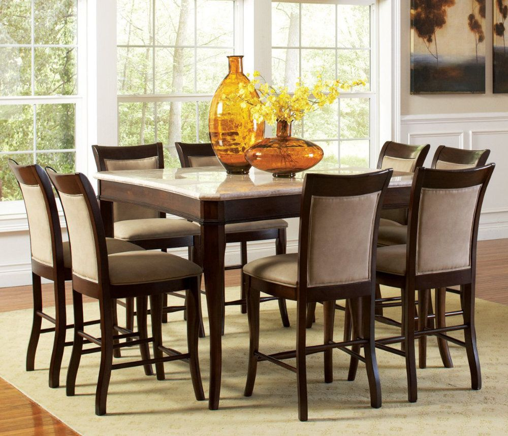 Steve Silver Marseille 9 Piece Marble Top 54x54 Counter Height Set Counter Height Dining Table Counter Height Dining Sets Dining Table