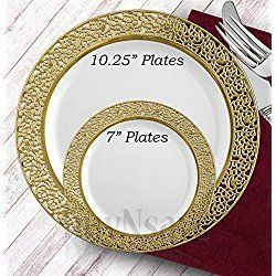 buyNsave White with Gold Heavyweight Plastic Elegant Disposable Plates Wedding Party Elegant Dinnerware Inspiration Collection (40 7  Dessert Salad ...  sc 1 st  Pinterest & buyNsave White with Gold Heavyweight Plastic Elegant Disposable ...