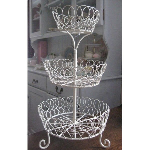 A Lovely Cream 3 Tier Basket Stand For Displaying Cakes Fruit Shop Wares Etc Tiered Basket Stand Gift Shop Displays Decor