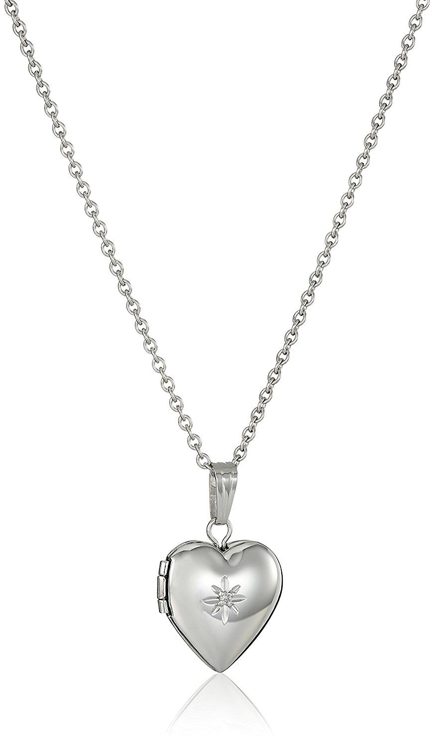 silver locket charms childrens heart direct sterling plain shaped lockets