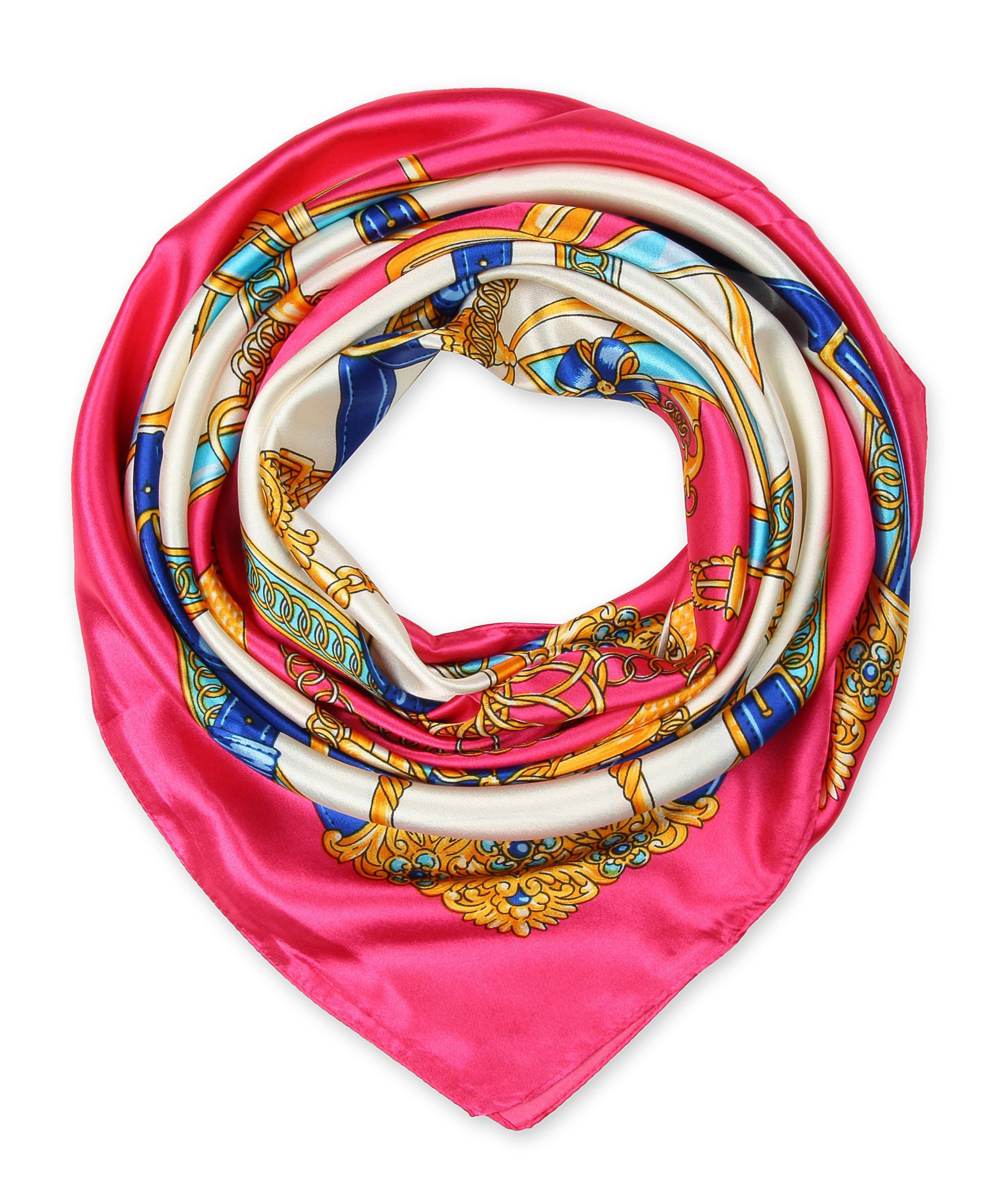 corciova Women's Graphic Print Silk Feeling Square Scarf Neckerchief 35x35 Inches Cerise Pink $9.99 Free Shipping