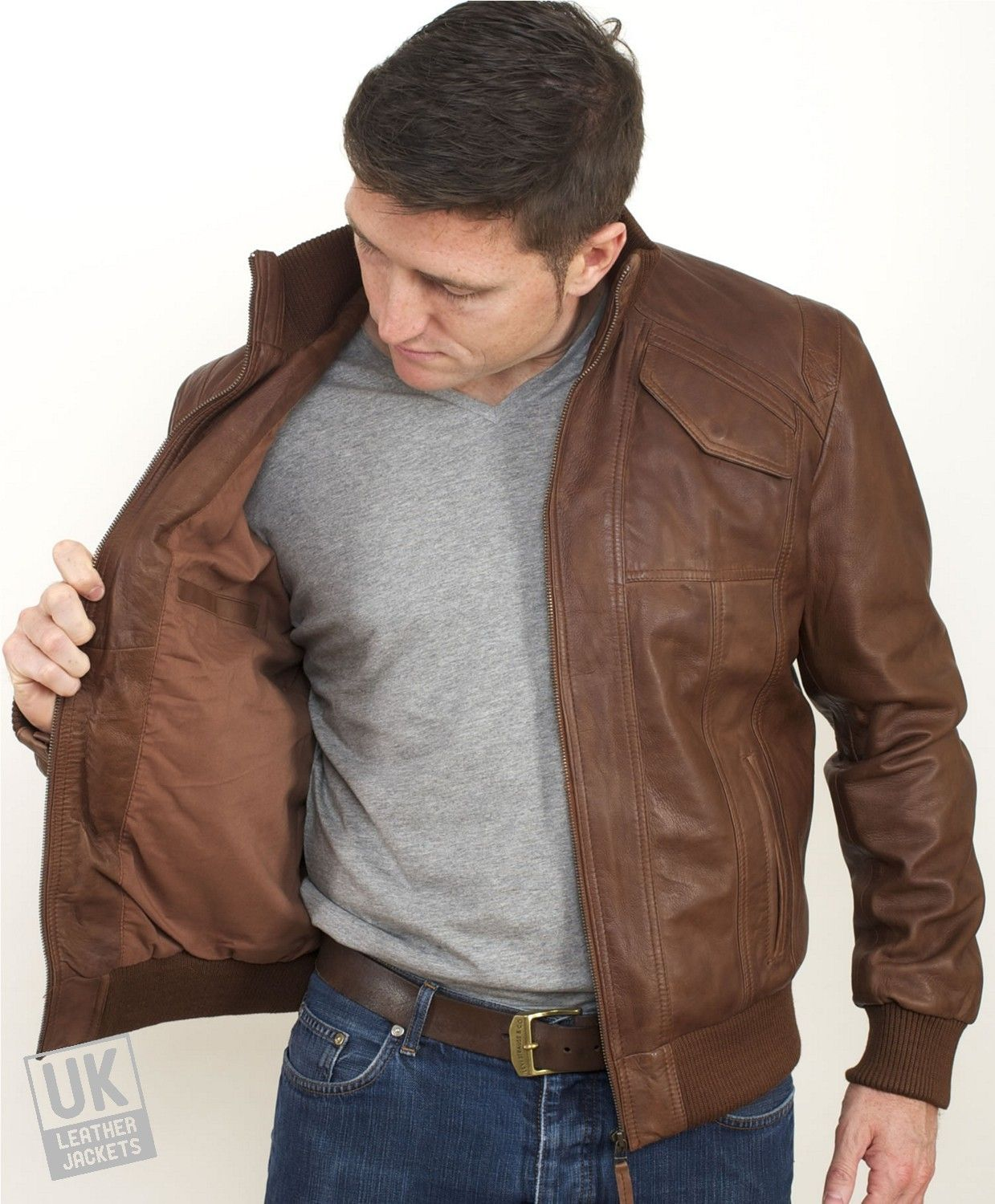 Images of Brown Leather Bomber Jacket Men - Reikian