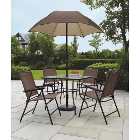 New 6 Piece Patio Dining Set Umbrella Seats Outdoor Backyard Furniture