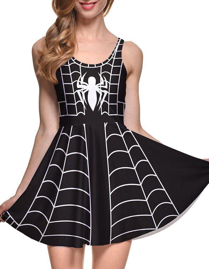 Spider web print sleeveless short skater dress black spider webs