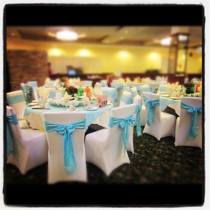 The White Spandex Chair Covers And Light Blue Taffeta