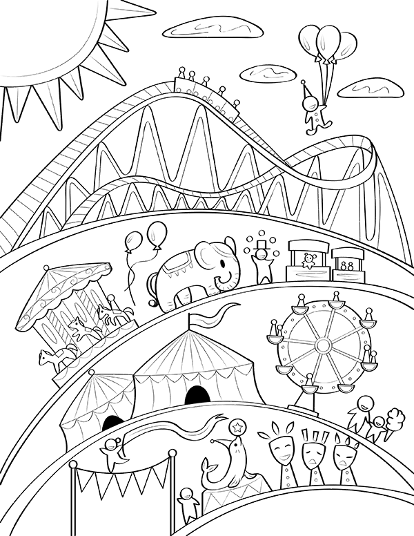 Free Printable Carnival Coloring Page Download It At Https Museprintables Com Download Coloring Page Coloring Pages Free Coloring Pages Cool Coloring Pages