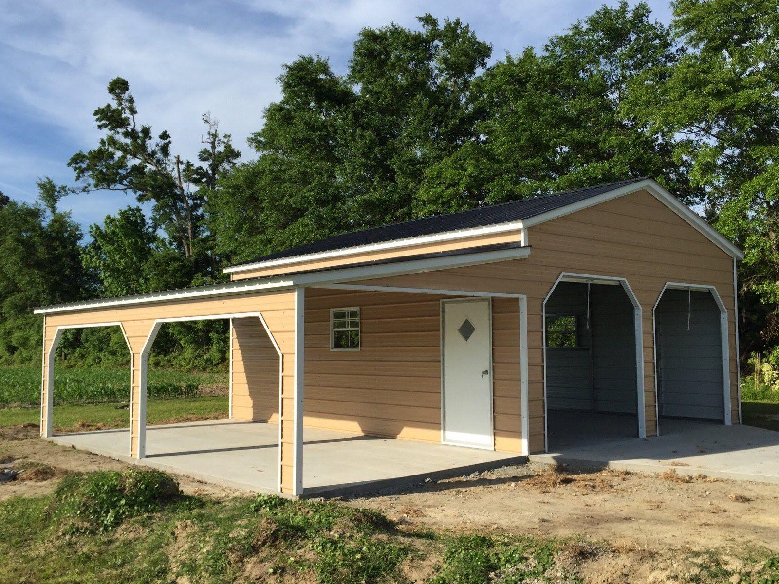 Best 20W X 21L X 10H Vertical Roof Metal Garage With 12W X 21L 400 x 300