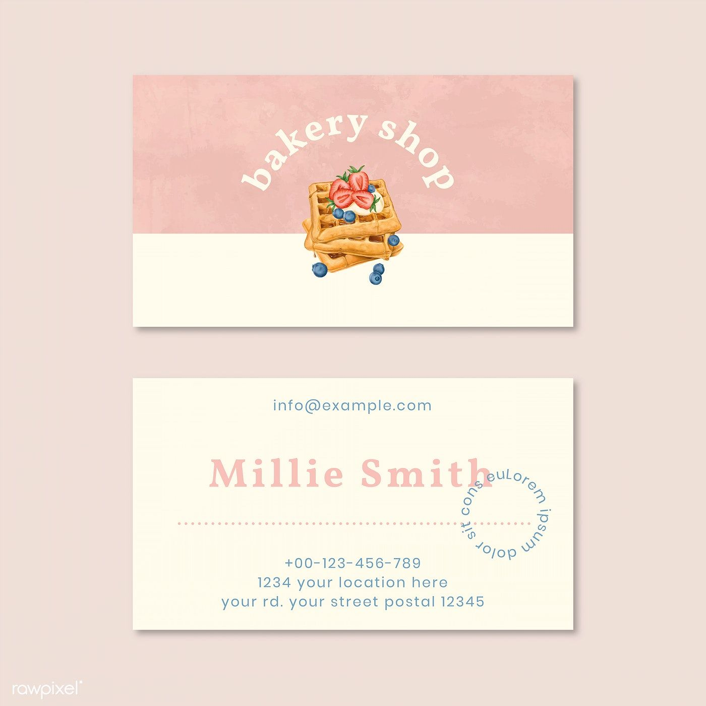 Hand Drawn Bakery Name Card Template Vector Free Image By Rawpixel Com Aew Business Card Mock Up Bakery Business Cards Bakery Business Cards Templates