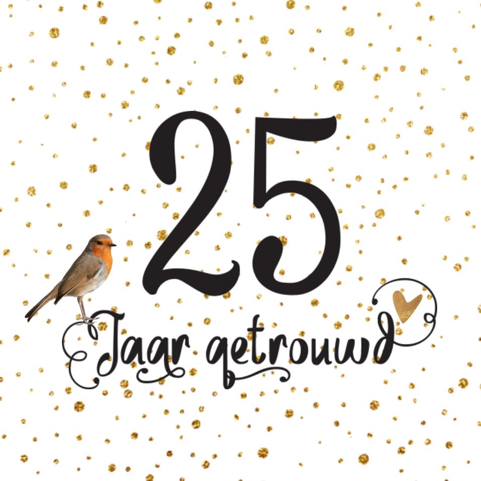 25 jaar getrouwd lovz | hippe uitnodiging 25 jaar getrouwd vogel handlettering en  25 jaar getrouwd