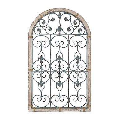 Katelyn 2-Tone Arch Wood and Metal Wall Plaque | Turquoise ...