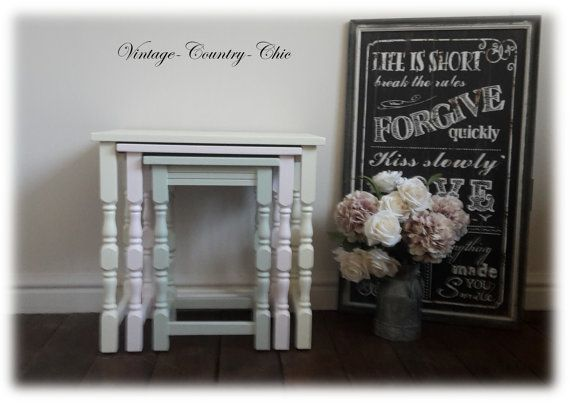 Beautiful Shabby Chic Nest Of Tables Unique by vintagecountrychic1