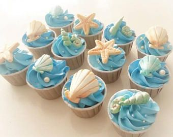 Mermaid Tail And Seashells Cupcake Topper With Images Beach
