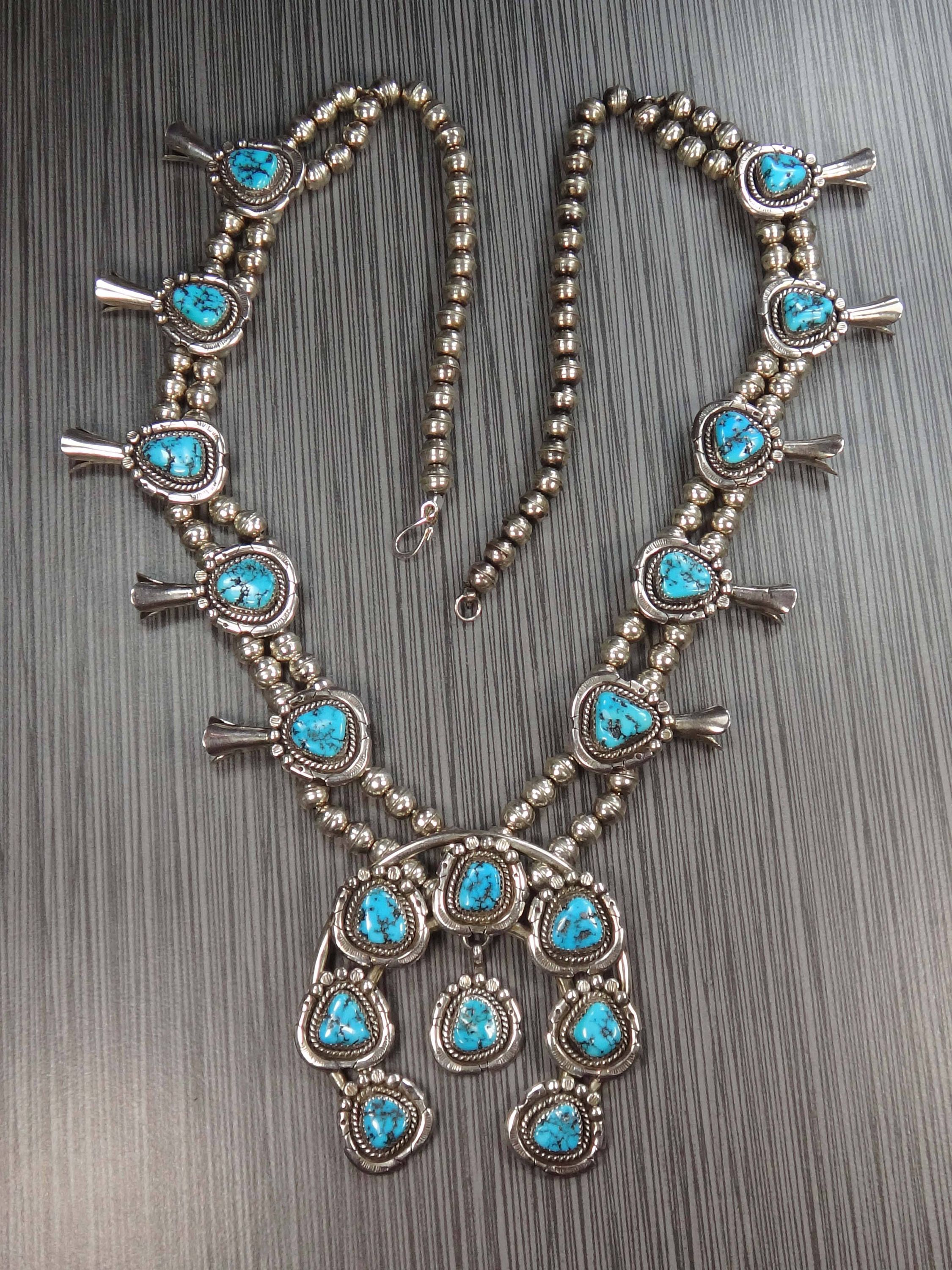 e43c4ca33 $1,250 --- Vintage Sterling Silver Turquoise Squash Blossom Necklace Y. &  N. Edsitty Turquoise Necklace Navajo Turquoise Native American Southwestern  by ...