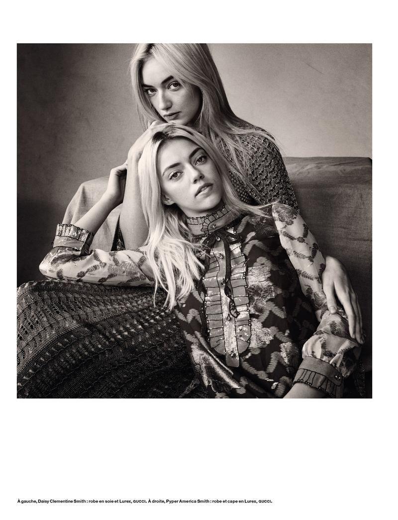 Daisy Clementine Smith and Pyper America Smith pose for Numero Magazine February 2016 issue