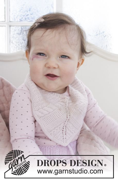 Giggles in Pink - Baby bib with cables, garter stitch and lace ...