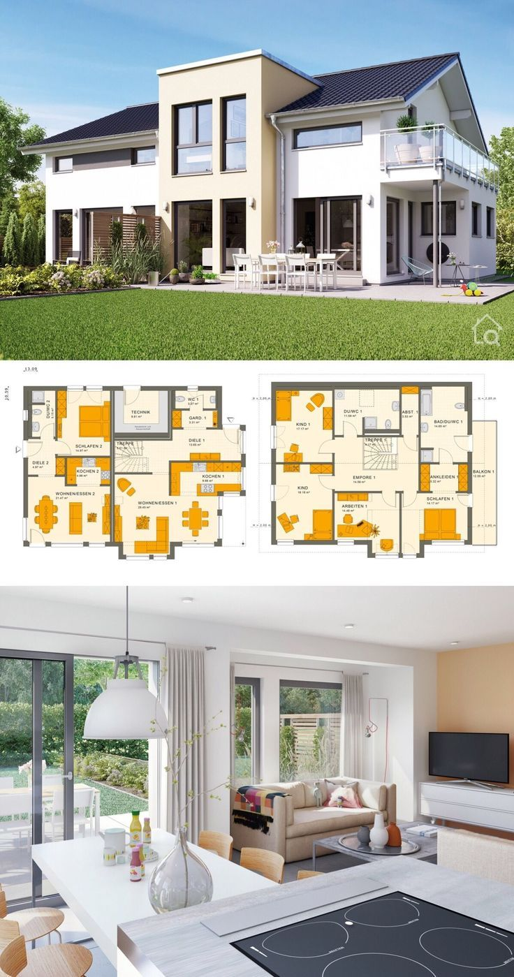 """Two Family House Modern Contemporary European Style Architecture Design Floor Plans """"SOLUTION 230 V4"""" - Dream Home Ideas Multi Generation House Layout by Living Haus - Interior with Kitchen Living Room Bathrooms Bedrooms Nursery Kids Entrance Hall Garage and Garden Exterior - Arquitectura moderna casas planos - HausbauDirekt.de #home #house #houseplan #dreamhome #newhome #homedesign #houseideas #housegoals #construction #architecture #architect #arquitectura #hausbaudirekt"""