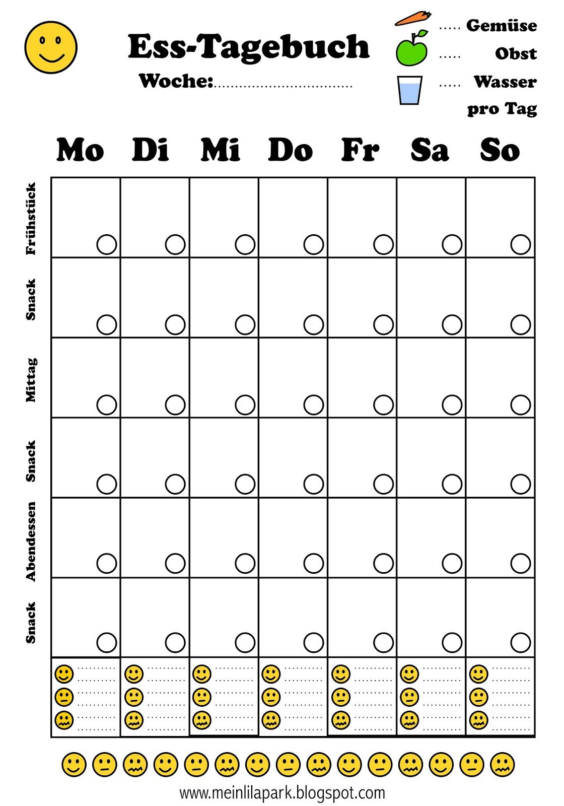 Fre Printable Diat Tagebuch Essprotokoll Freebies Pinterest