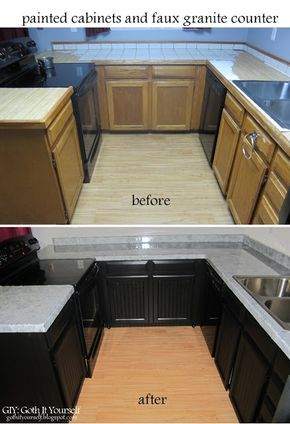Kitchen Makeover Faux Granite Counter Remodelacion Del Hogar