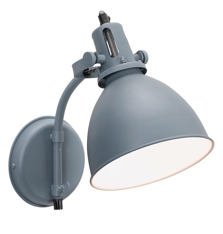 wandlamp 101: stoere industriële lamp, in blauw en grijs, Deco ideeën