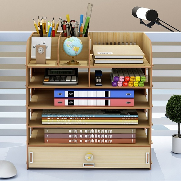 5 Tier Bamboo Shelf Organizer For Desk With Drawers Mini Desk Storage For Office Supplies Toiletries Crafts Great For Desk Tabletop In Home Or Office Wish In 2020 Desk Organization Desk