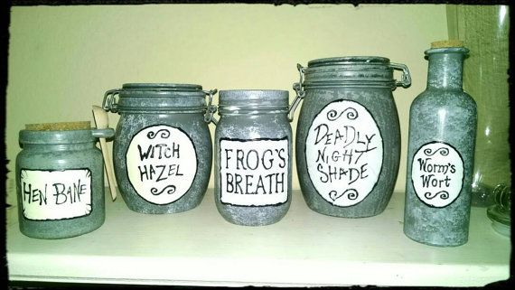 Nightmare Before Christmas Sally S Jars Deadly Nightshade Frog S Breath Worm S Wort Witch Hazel Hen Bane Set Of 5 Christmas Jars Sally Nightmare Before Christmas Nightmare Before Christmas
